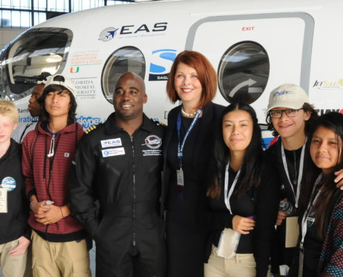 National Geographic Explorer and World Record Holder, Captain Barrington Irving with students.